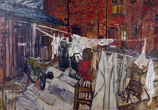 Courtyard with Washing, 1956 (oil on masonite board)
