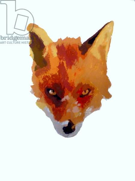 Fox face, 2013 (monoprint with inks)