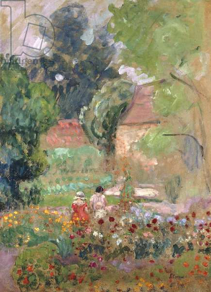 Marthe, Nono and Pierre in the Garden,  (oil on paper laid down on canvas)