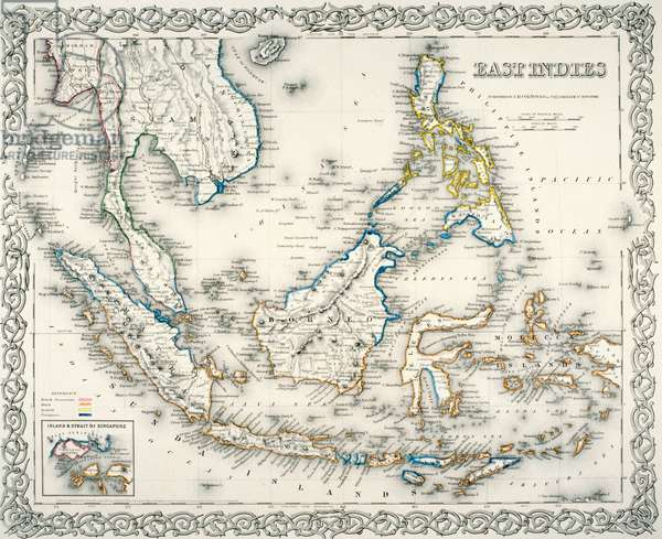Map of East Indies, by J.H. Colton and Co., 1855