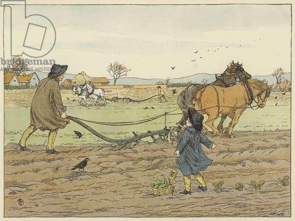 Ploughman (colour litho)