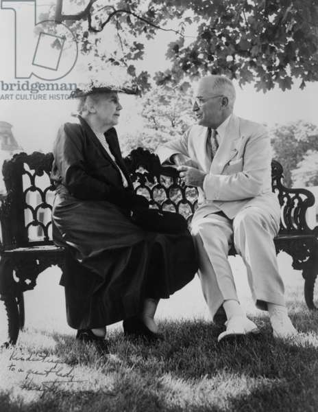 President Harry Truman and Edith Bolling Galt Wilson seated on outdoor bench. June 3, 1952. When first Lady, she decided which matters of state were important enough to bring to the bedridden President Woodrow Wilson.