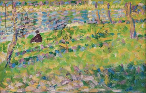 Landscape, Seated Man (study for 'Sunday Afternoon on the Island of La Grande Jatte'), 1884-1885 (oil on panel)