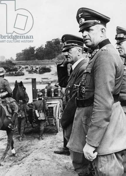 Hitler visiting troops in Poland, 1939 (b/w photo)
