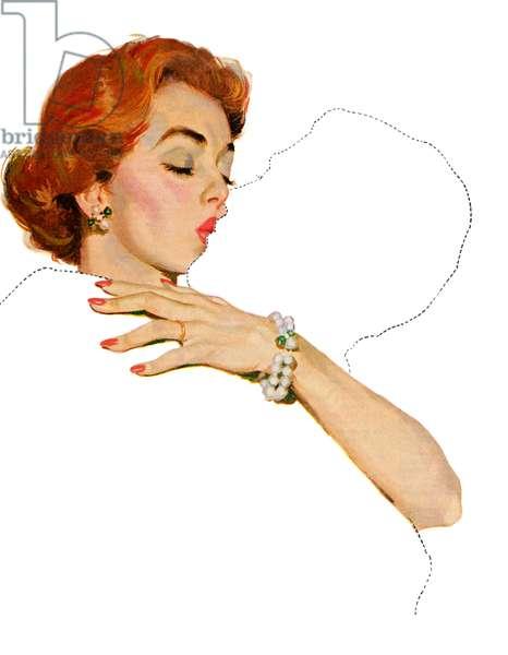 Woman Kissing Fantasy Boyfriend, 1953 (screen print)