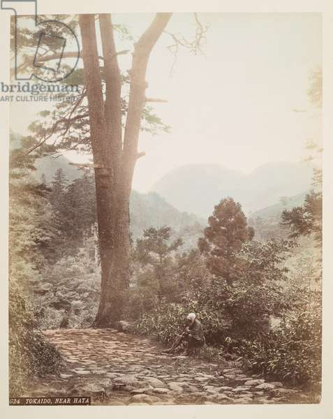 Tokaido, near Hata, from A Book of Coloured Photographs of views in Japan, 1895 (coloured photo)