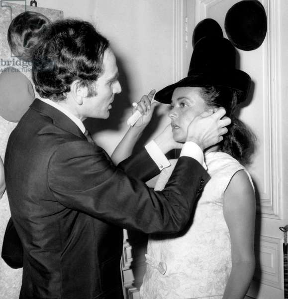 French Couturier Pierre Cardin With Actress Jeanne Moreau during Showing of 1964 Winter Collection (b/w photo)