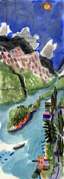 View from Casa Ecco, Lake Como, Italy, 2013 (w/c on paper)