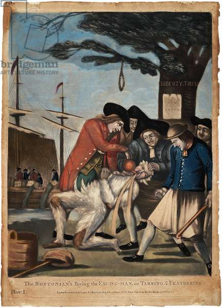 The Bostonian's Paying the Excise-man, or Tarring and Feathering, 1774 (hand-coloured engraving)