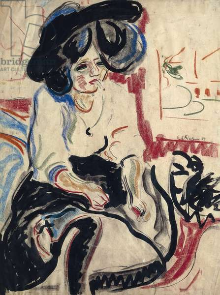 Young woman with cigarette, 1908-1909, by Ernst Ludwig Kirchner (1880-1938)