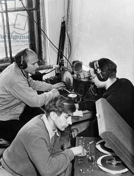 Laboratory Assistants at the Lvov State University Receiving Radio Signals from Sputnik 1, USSR, 1957.