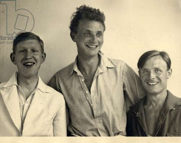 W.H. Auden, Stephen Spender and Christopher Isherwood, at Sellin on the island of Ruegen, 1931 (b/w photo)