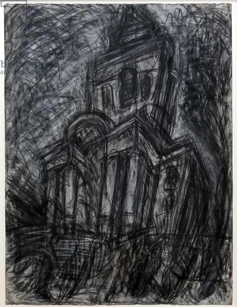 Christ Church, Spitalfields, 1985 (charcoal & pastel on paper)