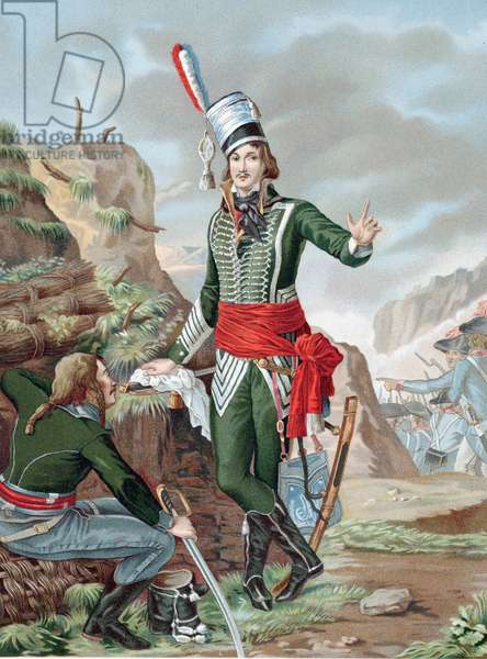Francois Severin Marceau-Desgraviers (1769-1896) French revolutionary soldier: republican army of La Vendee: fought at Fleurus, Mainz, Mannheim and Coblenz. Mortally wounded Altenkirchen. Chromolithograph after painting.