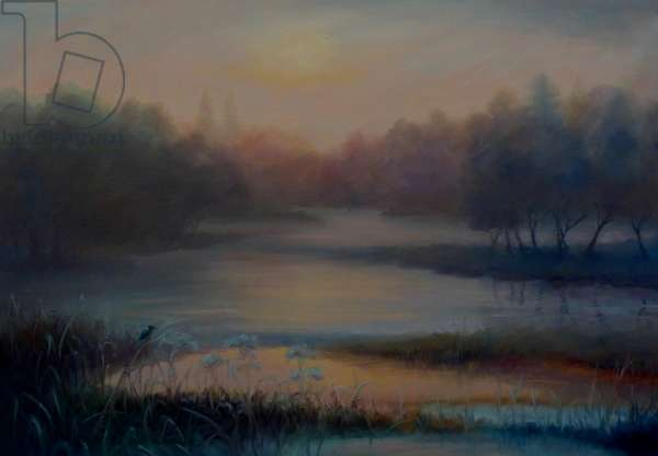 Morning Mist with Kingfisher, 2018, (oil on linen)