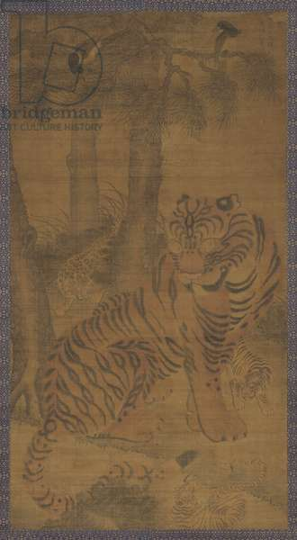 Tiger with Cubs, 1465-73 (ink wash & colours on silk)