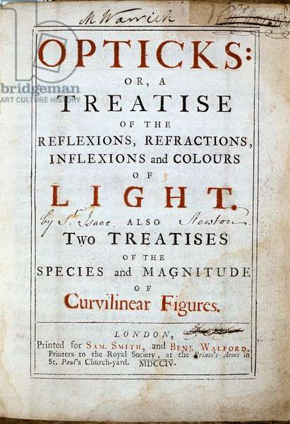 Isaac Newton (1642-1727) English scientist and mathematician. Title page of his Opticks 2nd edition London 1794.