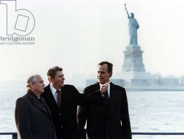 President Ronald Reagan with Vice-President George Bush and Mikhail Gorbachev