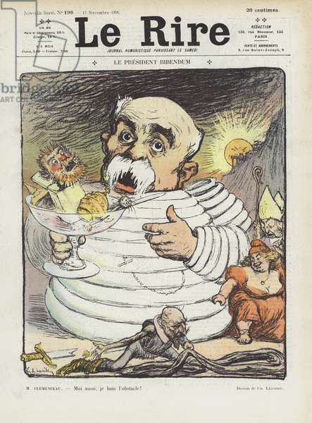 President Bibendum. Illustration for Le Rire (colour litho)