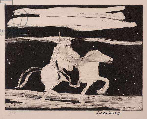 Man on a Horse, 1974 (aquatint hard ground etching on paper)