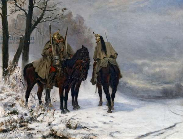 Dragon patrol in the field in 1870, c.1890 (oil on canvas)