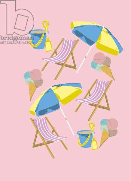 Beach deckchair with parasol and ice-cream, 2019