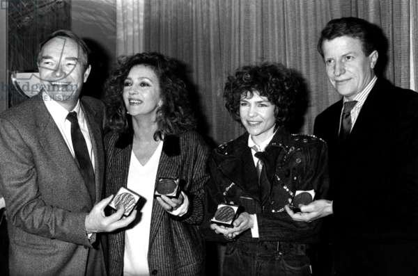 French Actors Pierre Vaneck, Caroline Cellier, Sabine Paturel and Andre Dussollier Have Received A Prize, February 5, 1988 (b/w photo)