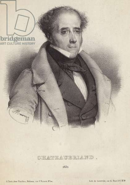 Portrait of vicomte de Chateaubriand (litho)