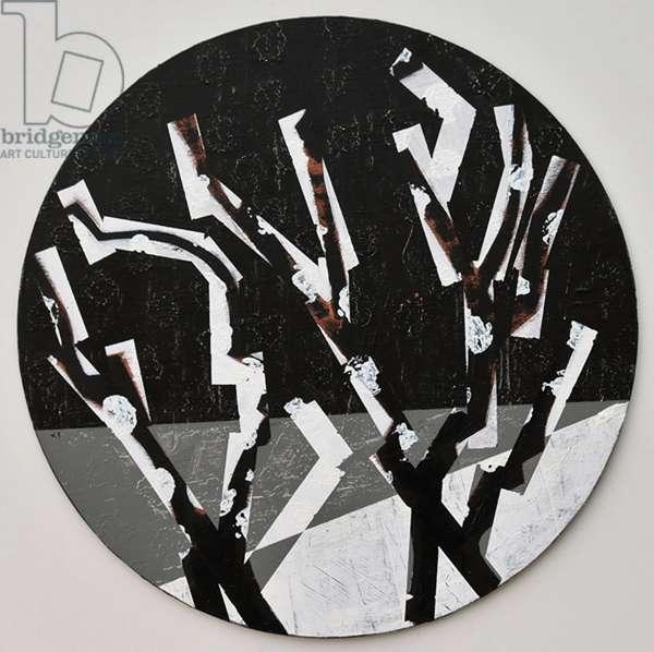 Twixt Heaven & Earth XI-B (acrylic on circular board)