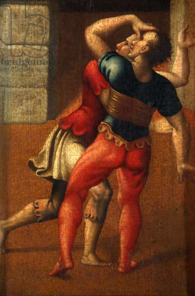 Two Wrestlers (oil on canvas attached to board)