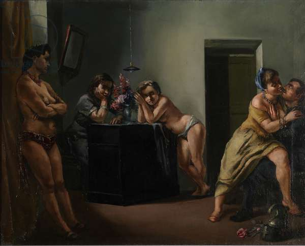 The Brothels (Il Postribolo), 1945 (oil on canvas)