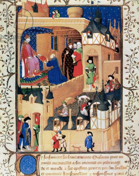 Charles VI (1368-1422), the Beloved. King of France. Charles IV's secretary Pierre Salmon presents the manuscript  to Charles VI. Miniature. 15th century. France National Library.