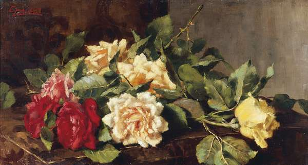 Still life with roses, by Cesare Calchi Novati (1858-1939)