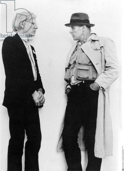 Andy Warhol and Joseph Beuys in Munich, 1980 (b/w photo)
