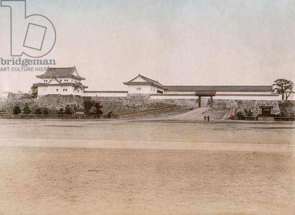 JAPAN: OSAKA, c.1900 A view of Osaka Castle in Osaka, Japan. Hand coloured  photograph, c.1900.
