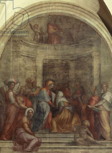 Italy, Florence, Cloister of votes, Basilica of Most Holy Annunciation, Visitation, 1516, by Giacomo Carucci known as il Pontormo (1494-1557), fresco