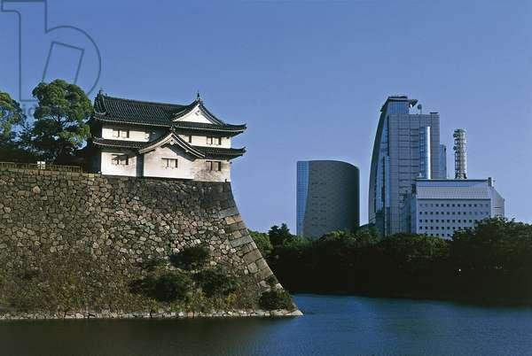 Tower along defensive walls of Osaka castle, Kansai, Japan, 16th-20th century