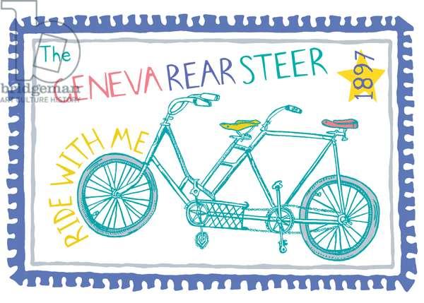 Geneva Rear Steer, pen and ink, digitally coloured