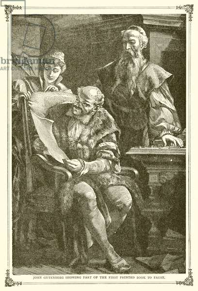 John Gutenberg showing part of the First Printed Book to Faust (engraving)