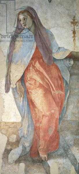The Annunciation, by Jacopo da Pontormo (1494-1557), detail