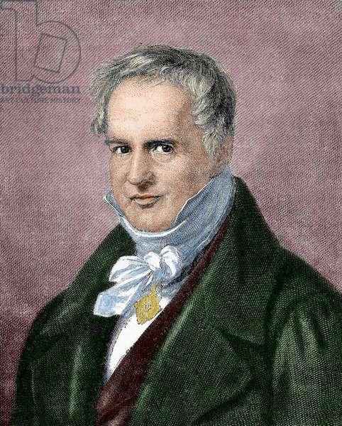 Alexander von Humboldt (1769-1859). Engraving. Colored.