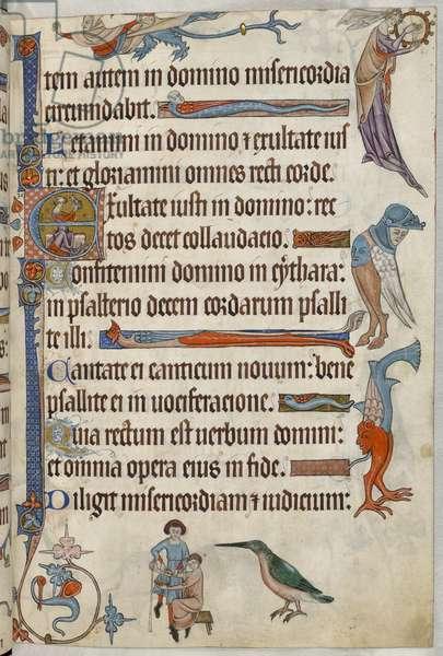 Add. 42130, f.61, Doctor bleeding a patient, from 'Luttrell Psalter', c.1325-35 (vellum)