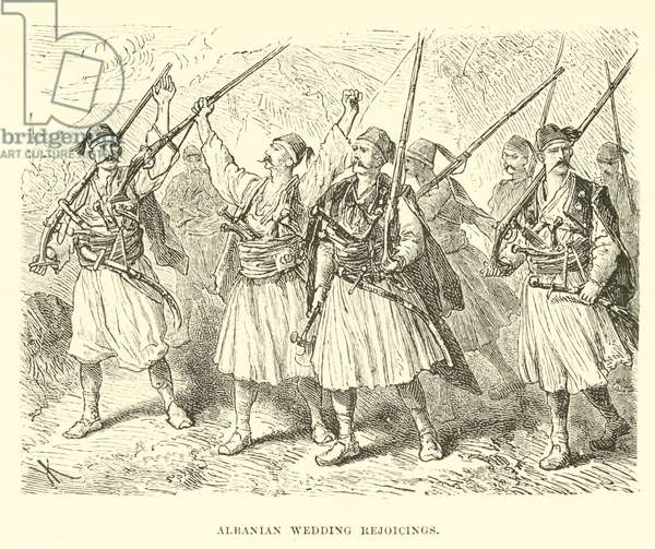 Albanian wedding rejoicings (engraving)