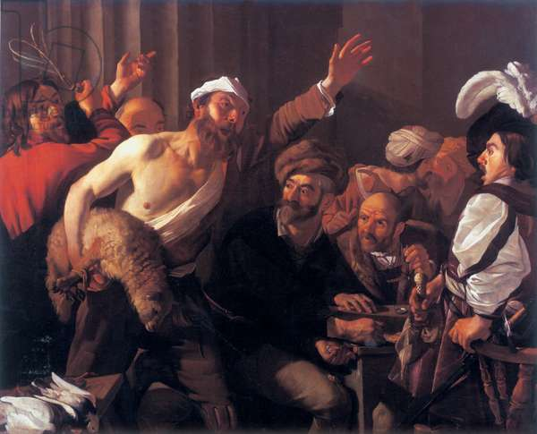 Christ driving the money changers from the temple, 1621 (oil on canvas)
