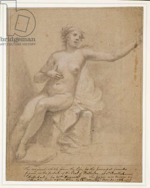 A female nude, c.1720-35 (pencil on paper)