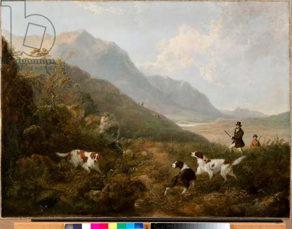 Grouse Shooting in the Highlands (oil on canvas)