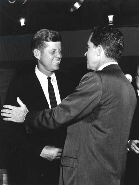 John F. Kennedy and Richard Nixon after the Kennedy-Nixon debates, Sept.-Oct. 1960
