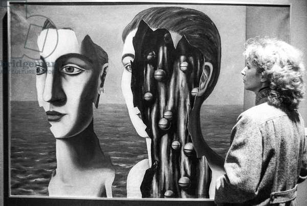 Exhibition about Rene Magritte at the Centre Georges Pompidou in Paris, January 18, 1979: canvas