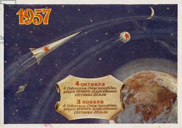Launch by the USSR of the first two satellites to orbit the Earth, 1957 (colour litho)
