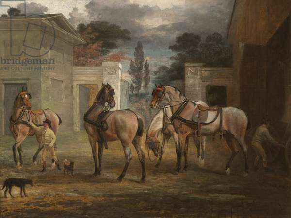 Four Roan Coach Horses with Two Grooms, 1792 (oil on canvas)